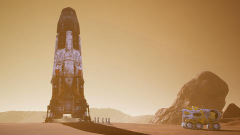 Astronauts go to the Rover after landing in a rocket on. Panoramic landscape on Animation