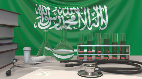 Clinic laboratory equipment on flag background. Healthcare and medical research Live Action