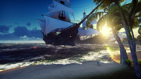 A large medieval ships at sea at sunrise. An ancient medieval ships moored near Animation
