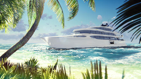 Luxury modern yacht in the sea at sunset. A modern yacht moored near a deserted Live Action