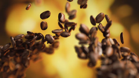 Raw coffee beans flying on the fire GIF
