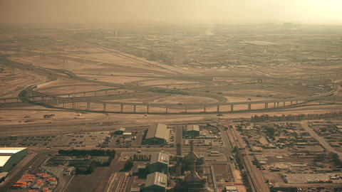 Aerial view of a big highway interchange in Dubai, UAE Live Action