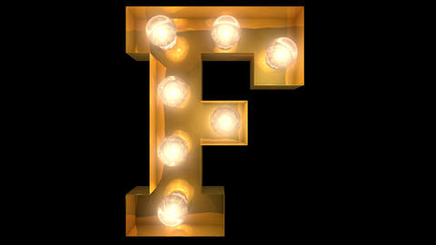 Golden light bulb typeface character F Animation