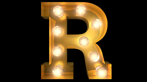 Golden light bulb typeface character R Animation