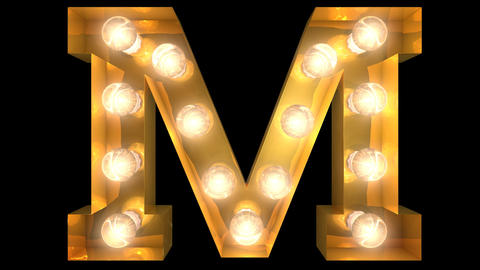 Golden light bulb typeface character M Animation