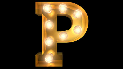 Golden light bulb typeface character P Animation