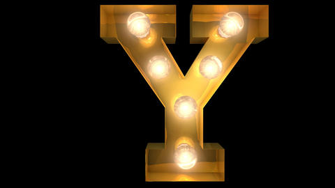 Golden light bulb typeface character Y Animation