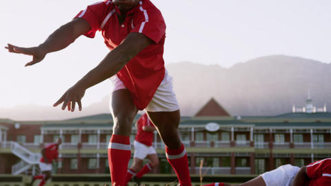 Male rugby player playing rugby in the stadium 4k Live Action