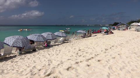 Grand Cayman Island Caribbean Ocean sandy beach pan 4K 029 Footage
