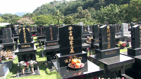 Hawaii Japanese cemetery with fruit offering HD Footage