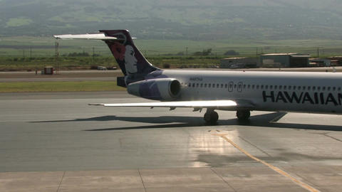 Hawaiian Airlines taxi out Maui Hawaii airline M HD Live Action