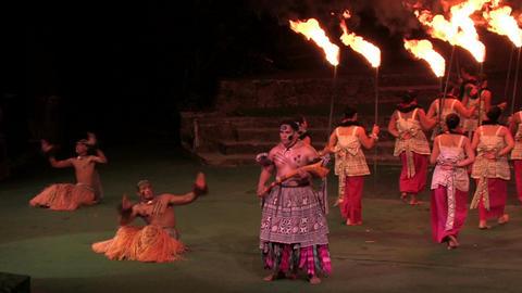 Hawaiian show natives torches Oahu Hawaii M HD Live Action