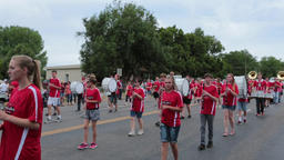 High School marching band rural community parade HD Footage