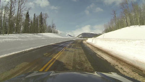 High mountain winter snow driving POV HD 0276 Footage