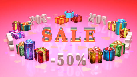 Shopping and gifts Valentines Day (discounts, dumping,%, percentages, purchase,  Animation