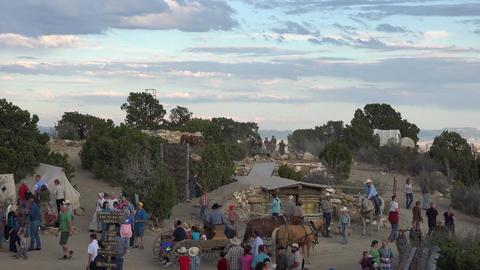 Historic weekend pioneer village horse carriage wagon 4K 150 Footage