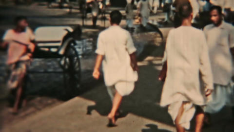 India Circa 1960 Vintage film busy road bridge cars carts people HD 0079 Footage