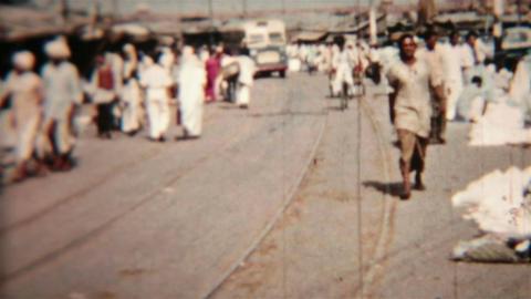 India busy street market vintage film Circa 1960 HD 0086 Footage