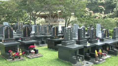 Japanese cemetery headstones Hawaii HD Footage
