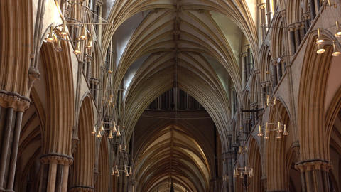 Lincoln Cathedral England tilt to ceiling 4K Footage
