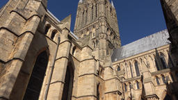 Lincoln Cathedral England tilt up to beautiful spires 4K Footage