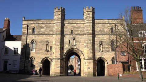 Lincoln England city and cathedral Medieval gate 4K Footage
