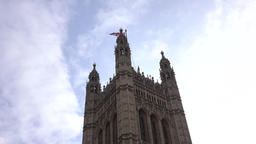 London House of Parliament tower flag clouds fast 4K Footage