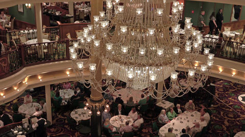 Luxury dining room cruise ship Caribbean Sea 4K Footage