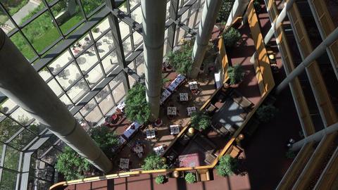 Luxury resort balcony down to dining room atrium 4K 061 Live Action
