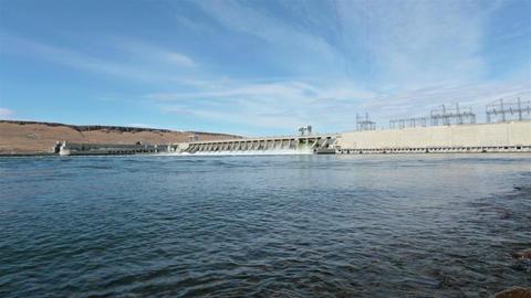 McNary Dam Columbia River down stream HD 8018 Footage