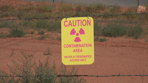 Moab Utah UMTRA radiation uranium contamination caution 4K Footage