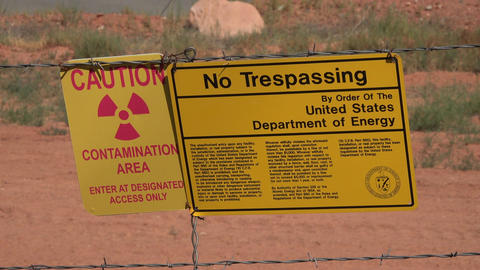 Moab Utah UMTRA radiation uranium contamination warning 4K Footage