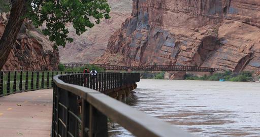 Moab Utah bike trail along Colorado River DCI 4K Footage