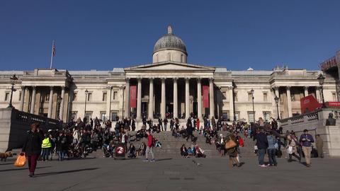National Art Gallery Trafalgar Square London England 4K Footage