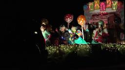 Night winter Christmas light parade 4K 032 Footage