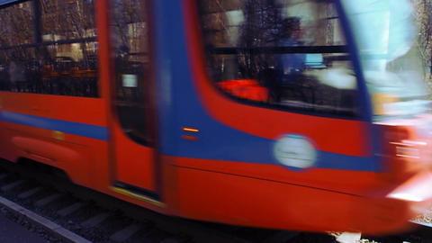 Tram 3. Tramway 71-623 travels on rails closeup scene and other tram departure f ビデオ