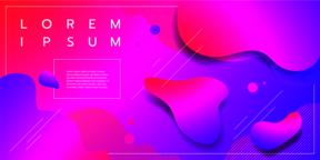 Liquid color background design with square cells. Fluid gradient shapes Vector