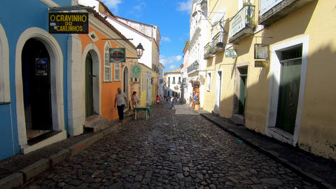 Historic center of Salvador, Bahia, Brazil. Famous attraction for tourist Live Action