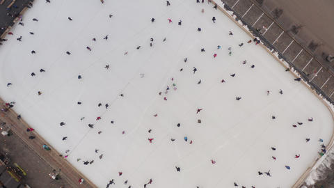 Kharkiv, Ukraine - January 2020: Winter skating rink in the fresh air, on which Live Action