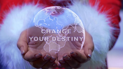 Hands holding planet with text Change your destiny Live Action