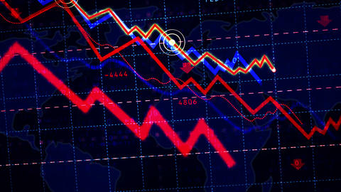 Stock markets down and global crisis chart Animation