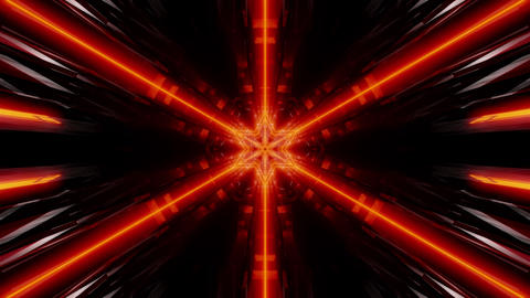 seamless looped 3D rendering animation of an abstract orange glow kaleidoscope Animation