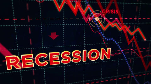 Recession stock markets down chart Animation