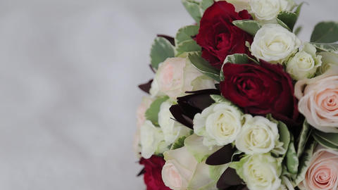 Wedding bouquet of fresh flowers. Festive bouquet of fresh flowers. Wedding Live Action