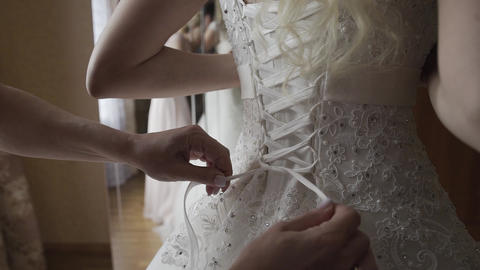 Bride knotted wedding dress. Happy wedding day Live Action