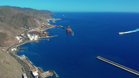 Aerial view. View from the height of the city of Santa Cruz de Tenerife on the Live Action