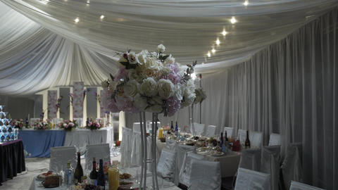 Beautiful wedding decoration in the hall. Wedding decorations Live Action