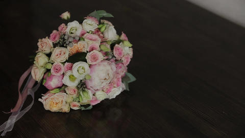 Wedding bouquet of fresh flowers. Festive bouquet of fresh flowers. Wedding Live Action