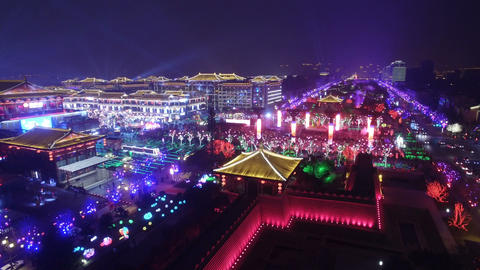 Aerial view of lighting show in Datang Everbright city for celebrate Chinese Live Action