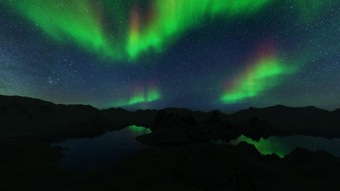Northern lights on blue background. Northern landscape. Night colorful landscape Live Action